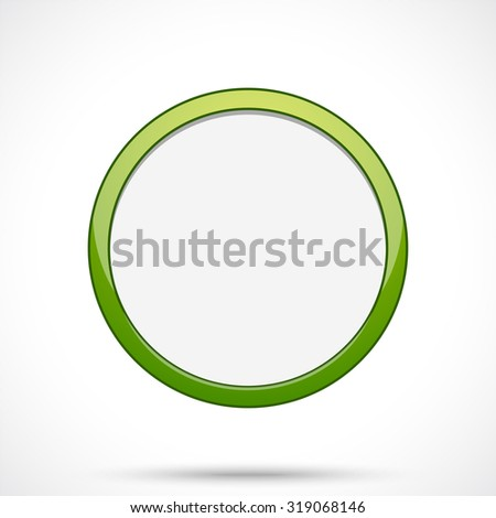 Round sticker tag. Blank vector icon in green color with light center.