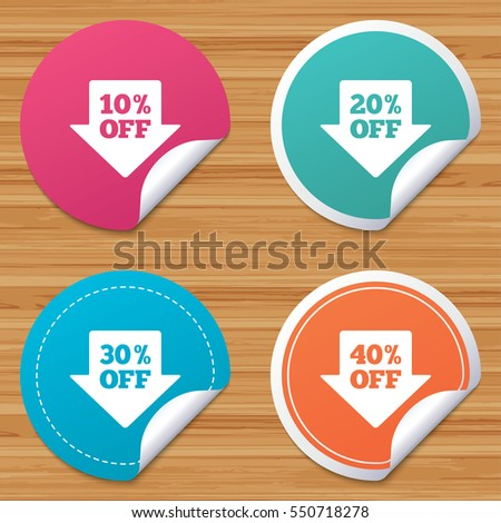 Round stickers or website banners sale arrow tag icons discount special offer symbols