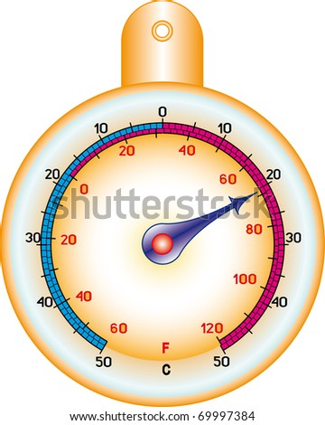 Round street thermometer measuring hot and cold temperature - stock vector