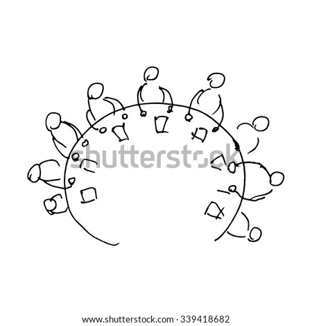 Round table discussion. Vector illustration isolated on white background - stock vector