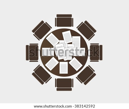 Round-table meeting. Vector - stock vector