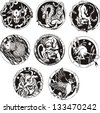 Round tattoos with animals. Set of black and white vector illustrations. - stock vector
