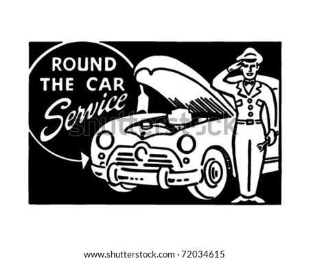 Round The Car Service - Retro Ad Art Banner - stock vector