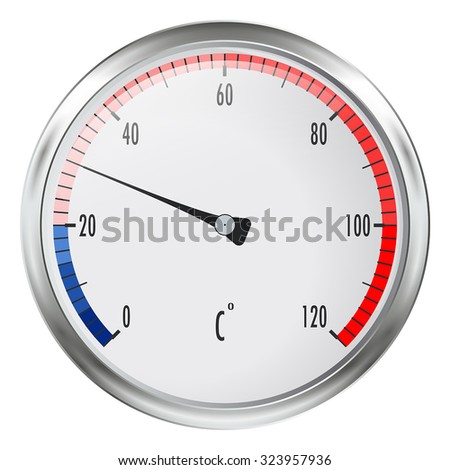 Round thermometer - vector illustration, isolated