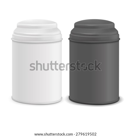 round tin packaging set in white and black isolated on white background - stock vector