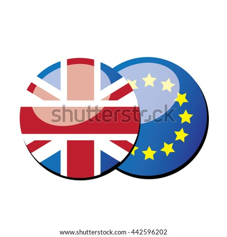 round UK flag and round EU flag; Brexit concept-vector - stock vector