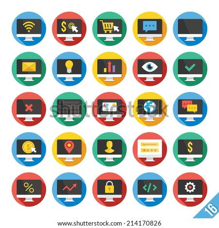 Round vector flat icons set with long shadow for web and mobile apps. Colorful modern design illustrations, concepts.Computer display icons for web development,ecommerce,technology,business,marketing. - stock vector