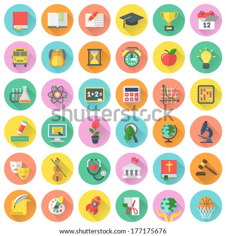 Round vector flat school subjects icons for education with long shadows - stock vector