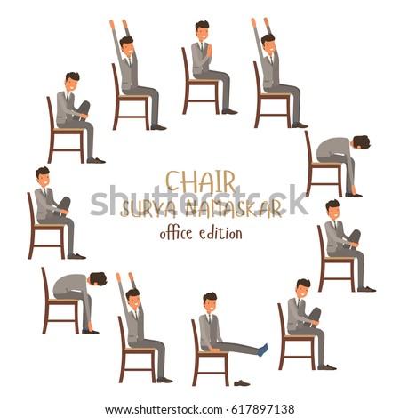 round vector illustration chair sun salutation stock