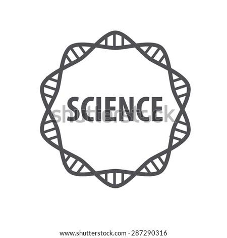 Round vector logo DNA science - stock vector