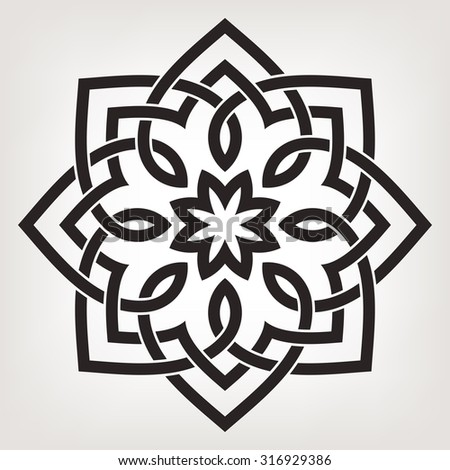 Round vector ornament with overlapping geometric shapes. Eight pointed circular pattern. Mandala. 