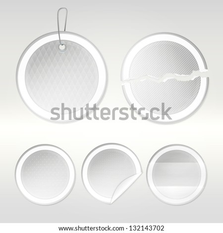 Round vector sticker set as white  glossy emblems in five variations, eps10 vector copyspace design elements - stock vector