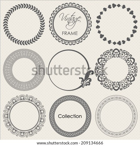 round vintage frame vector collection - stock vector