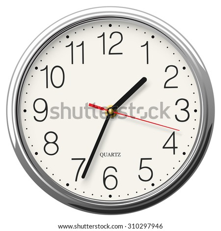 Round wall clock with glossy metallic body isolated - stock vector