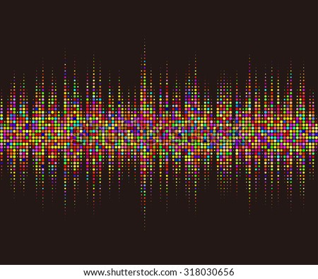 Round waveform background. Colorful halftone vector sound waves. You can use in club, radio, pub, party, DJ, game, recitals or the audio technology advertising background.