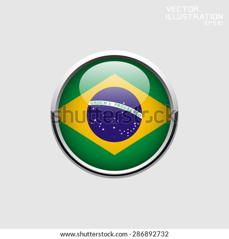 Round web button. Brazil flag. Vector illustration.
