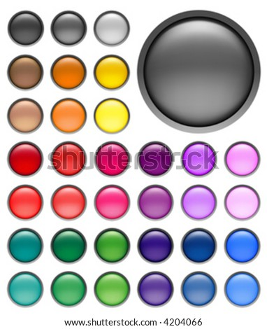 round web buttons with different shiny colors - stock vector