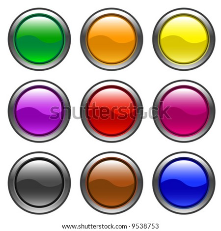 round web buttons with different shiny colors - vector
