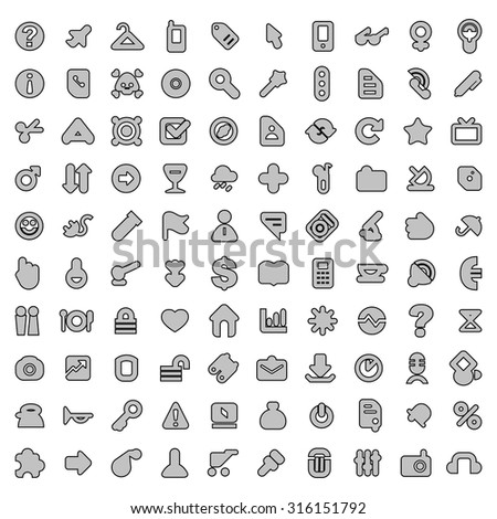 Round Web Design Elements - Grey Icon Set Template, Clip-Art Collection for Web or Technology Isolated on White