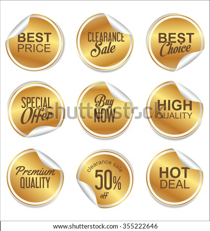 Round white and gold paper sale sticker collection  - stock vector