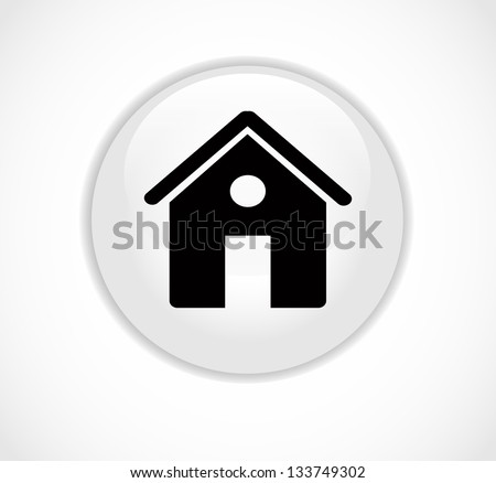 Round white web home page button with house icon vector - stock vector