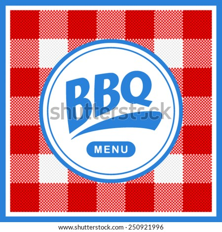 Rounded barbecue label on pattern background - stock vector
