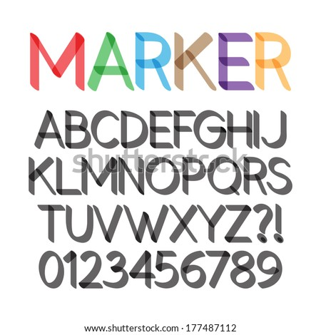 Rounded Bold Marker Pen Font and Numbers, Eps 10 Vector Editable - stock vector
