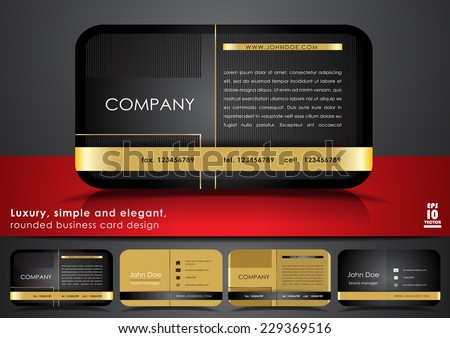 Rounded business card design - stock vector