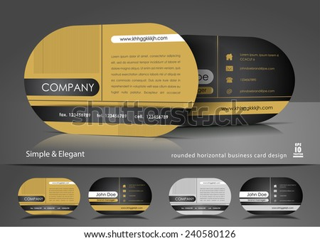Rounded business card in gold color - stock vector