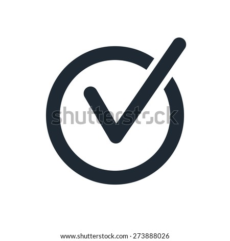 rounded check mark icon - stock vector