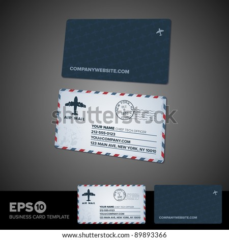 Rounded Corner Air Mail Retro Business Stock Vector - Rounded business card template