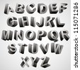 Rounded 3d font, monochrome vector symbols alphabet. - stock vector