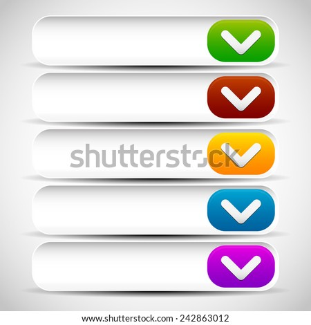 Rounded drop down button templates (UI, web design elements) - stock vector