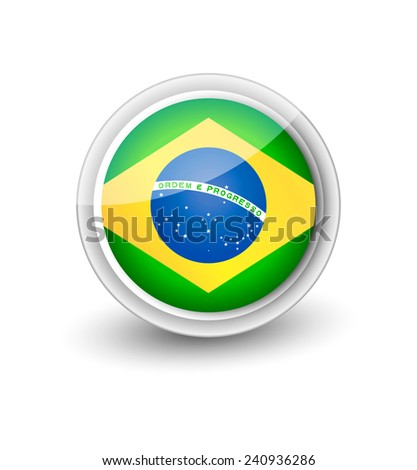 Rounded flag icon of Brazil isolated on white - stock vector