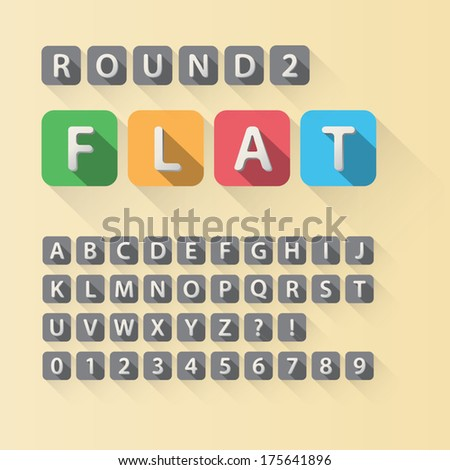 Rounded Flat Font and Numbers in Rounded Square, Eps 10 Vector, Editable for any Background, No Clipping Mask - stock vector
