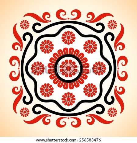 Rounded frame with Hungarian motives decoration - stock vector
