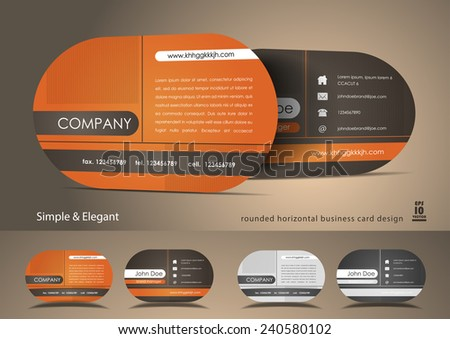 Rounded orange business card - stock vector