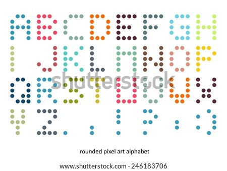 Rounded pixel art alphabet font in pastel colors - stock vector
