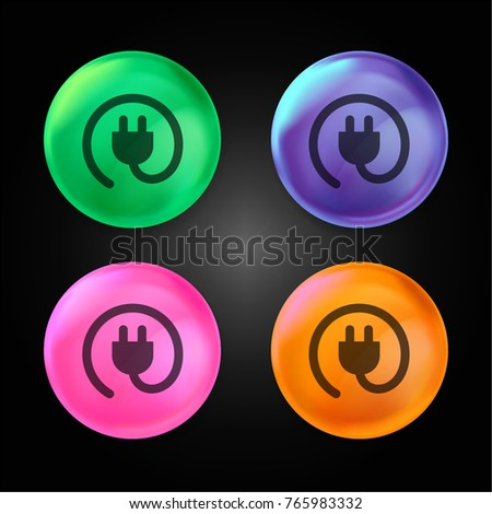 Rounded plug crystal ball design icon in green - blue - pink and orange.