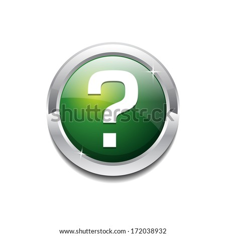 Rounded Question Mark Vector Icon Button - stock vector