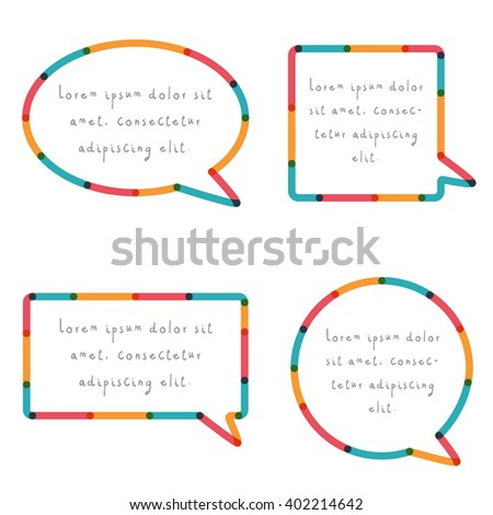 Rounded speech bubble set in colorful design isolated on white background. - stock vector