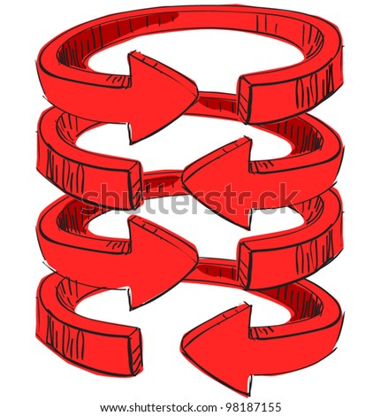 Rounded spiral arrows .Hand drawing colorful sketch vector icon - stock vector