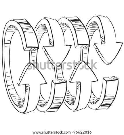 Rounded spiral arrows .Hand drawing sketch vector icon - stock vector