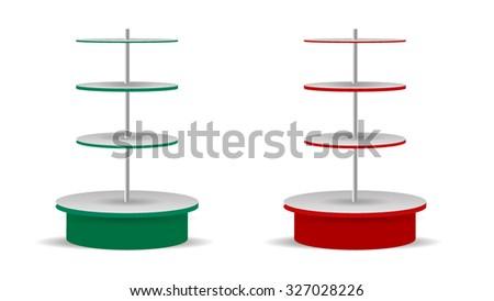 Rounded Supermarket Shelves - stock vector