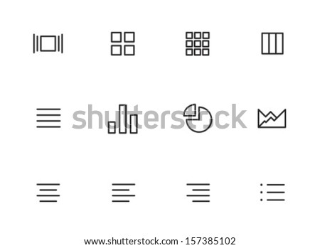 Rounded Thin Icon Set 01 - Cover, Icons, Small, List, Details, Copy, Graph, Chart, Pie chart, Align, Bullet list - stock vector