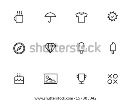 Rounded Thin Icon Set 01 - Cup, Umbrella, Tshirt, Medal, Compass, Diamond, Ice cream, Bite, Cake, Picture, Award, Game, - stock vector