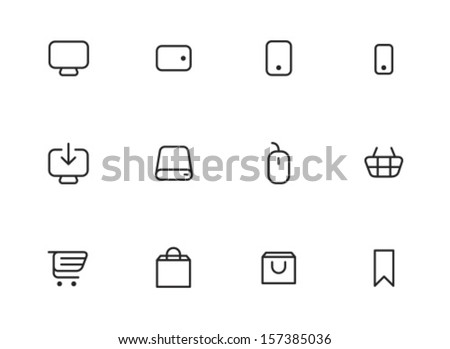 Rounded Thin Icon Set 01 - Display, Tablet, Phone, Download, Laptop, Mouse, Basket, Cart, Shopping, Bag, Bookmark - stock vector