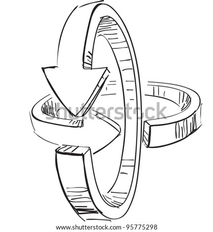 Rounded three-dimensional arrows. Hand drawing sketch vector icon - stock vector
