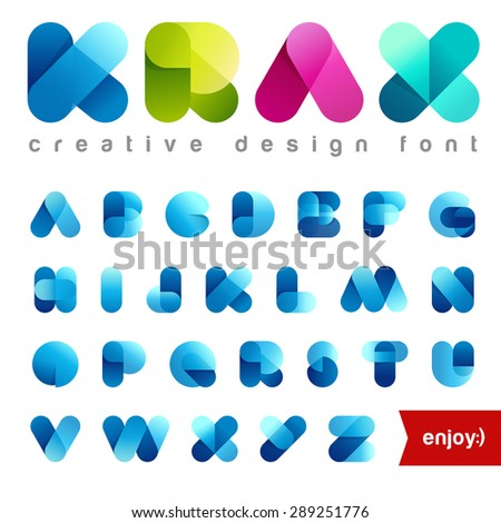 Rounded Transparent Font design vector editable. Friendly Alphabet. Creative abc. Use Letters for Logo. Easy change colors. - stock vector