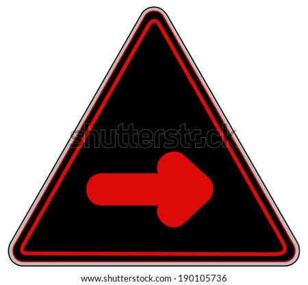 Rounded triangle shape hazard warning sign with arrow symbol. Vector illustration - stock vector